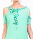 Indian Fashion Designers - Anushree Agarwal - Contemporary Indian Designer - Aqua Blue Drop Shoulder Tunic - ANUA-AW16-AWT2238