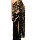 Indian Fashion Designers - Kyra - Contemporary Indian Designer - Black Galaxy Saree - KYA-AW16-KB026