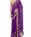 Indian Fashion Designers - Kyra - Contemporary Indian Designer - Gold Flowers Saree - KYA-AW16-KP030