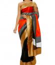 Indian Fashion Designers - Mandira Bedi - Contemporary Indian Designer - Black and Orange Geometric Saree - MBI-AW16-HHUSTP-011