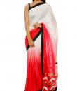 Indian Fashion Designers - Mandira Bedi - Contemporary Indian Designer - Chevron Motif Pallu Saree - MBI-AW16-PWSHD-022
