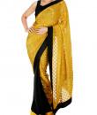 Indian Fashion Designers - Mandira Bedi - Contemporary Indian Designer - Black and Yellow Brocade Saree - MBI-SS16-HHBRC-033