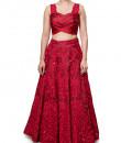 Indian Fashion Designers - Neha Gursahani - Contemporary Indian Designer - Red and Maroon Embroidered Lehenga - NG-AW16-MA-01