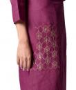 Indian Fashion Designers - Paar - Contemporary Indian Designer - Plum Asymmetrical Tunic - PAR-AW16-TLB008P