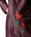 Indian Fashion Designers - Paar - Contemporary Indian Designer - Plum Flower Embroidered Tunic - PAR-AW16-TLF017