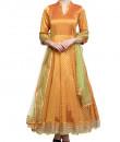 Indian Fashion Designers - Rang - Contemporary Indian Designer - Rust Silk Brocade Anarkali - RNG-AW16-1-139