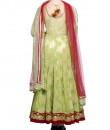 Indian Fashion Designers - Rang - Contemporary Indian Designer - Green Silk Anarkali - RNG-AW16-1-141