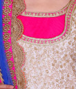 Indian Fashion Designers - Rang - Contemporary Indian Designer - White and Pink Lehenga - RNG-AW16-2-049