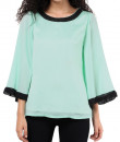 Indian Fashion Designers - Red Couture - Contemporary Indian Designer - Sea Green Bell Sleeve Top - RC-AW16-RC16-5w53