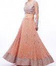 Indian Fashion Designers - Renee Label - Contemporary Indian Designer - Blush Sapphire Lehenga - REN-SS16-RLB1-Pink garnet