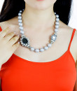 Indian Fashion Designers - Rhea - Contemporary Indian Designer - Moonlight White Pearl Necklace - RH-AW16-1010040