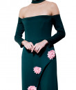 Indian Fashion Designers - Riddhi And Revika - Contemporary Indian Designer - Emerald Green Choker Neck Slit Jumpsuit - RRI-AW16-JS-007