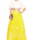 Indian Fashion Designers - Salt and Spring by Sonam Jain - Contemporary Indian Designer - Embroidered Yellow Skirt and Blouse Set - SAS-AW17-T1001-SK1003