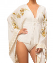 Indian Fashion Designers - Siddartha Tytler - Contemporary Indian Designer - Embroidered Ivory Bodysuit with Ivory Kaftan Top - ST-AW16-MS16-BSUIT-001-KFTN-001