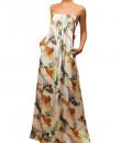 Indian Fashion Designers - Siddartha Tytler - Contemporary Indian Designer - Humming Bird Print Long Dress - ST-AW16-MS16-DRS-009