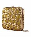 Indian Fashion Designers - The Purple Sack - Contemporary Indian Designer - Chatak Matak Gold Box Clutch - TPS-SS17-TLQ08