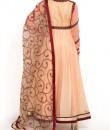 Indian Fashion Designers - Zainah By Pooja Khokha Arora - Contemporary Indian Designer - Peach Net Anarkali - ZIA-SS17-VE05