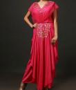 Indian Fashion Designers - Nidhi Singh - Contemporary Indian Designer - Fuchsia Pink Waterfall Skirt Pant Set - NDC-SS17-NIDSP007