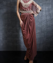 Indian Fashion Designers - Nidhi Singh - Contemporary Indian Designer - Embellished Side Swept Pearl Cape Drape Skirt - NDC-SS17-NIDSS056